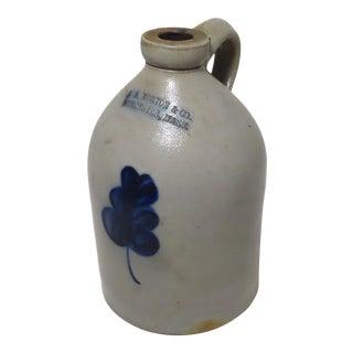 Antique American Blue Decorated Stoneware 1 Gallon Jug For Sale
