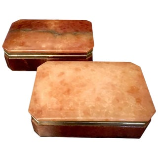 Italian Alabaster & Brass Trim Boxes - a Pair For Sale