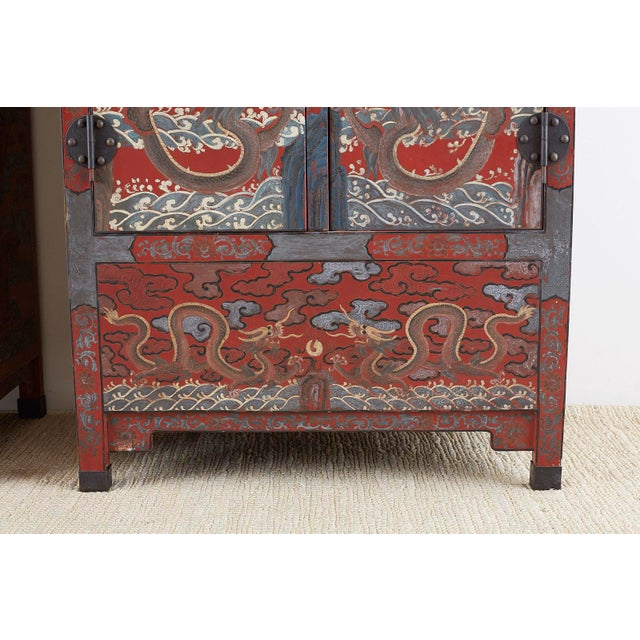 Black Chinese Polychrome Decorated Compound Dragon Cabinets - a Pair For Sale - Image 8 of 13