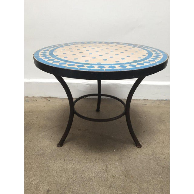 Lovely Moroccan Mosaic Outdoor Turquoise Tile Side Table On Low Iron - Moroccan outdoor coffee table