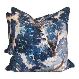 """Impressionistic Print in Teal/Lavender 22"""" Pillows-A Pair For Sale"""