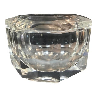 1970s Heavy Thick Faceted Lucite Ice Bucket For Sale