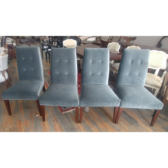 Mid-Century Modern Henredon Furniture Barbara Barry Slate Grey Velvet Dining Chairs - Set of 6 For Sale - Image 10 of 12