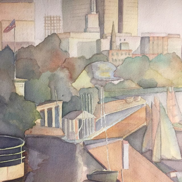 Mid-Century Modern Original Vintage Watercolor Painting SeaPort For Sale - Image 3 of 9