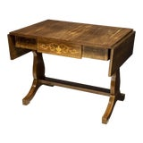 Image of 19th Century Neoclassical Continental Marquetry Drop-Leaf Table For Sale