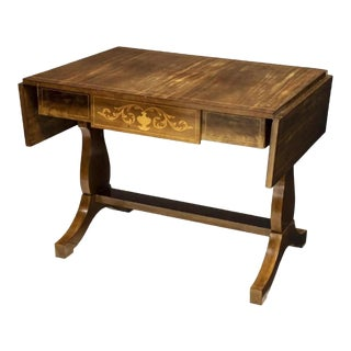 19th Century Neoclassical Continental Marquetry Drop-Leaf Table For Sale