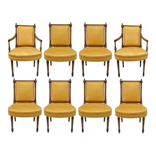 Maslow Freen French Empire Directoire Style Mahogany Dining Chairs - Set of 8 For Sale
