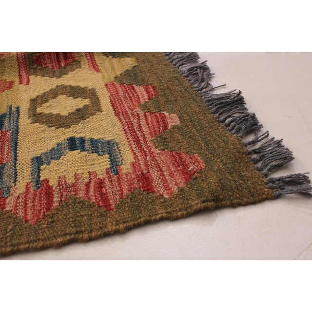 Kilim Handmade wool Rug. One Of Kind Vintage Rug with perfect design and colours.