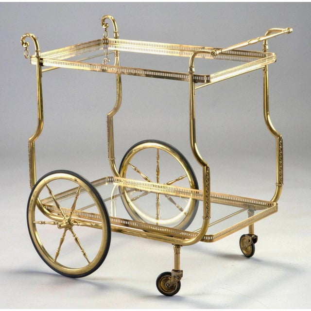 Art Deco French Brass and Glass Bar or Tea Trolley For Sale - Image 3 of 11