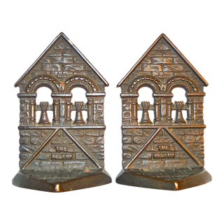 1928 Belfry Connecticut Foundry Cast Iron Bookends - A Pair For Sale