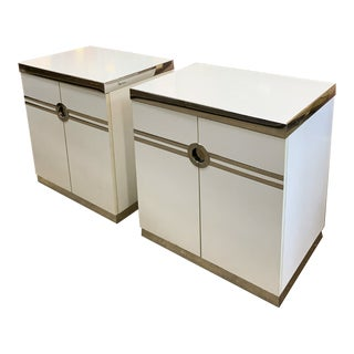 1970s Pierre Cardin White and Chrome Nightstands - a Pair For Sale