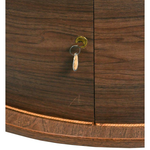Grand Server Boomerang Kidney Shaped Walnut Coffee Table Bar Cabinet For Sale - Image 5 of 9