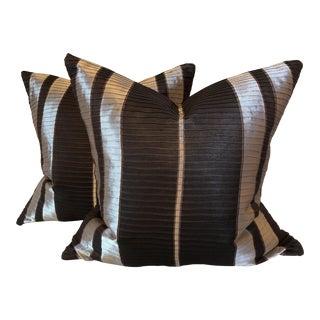 """Striped Ribbed Silk 22"""" Pillows-A Pair"""