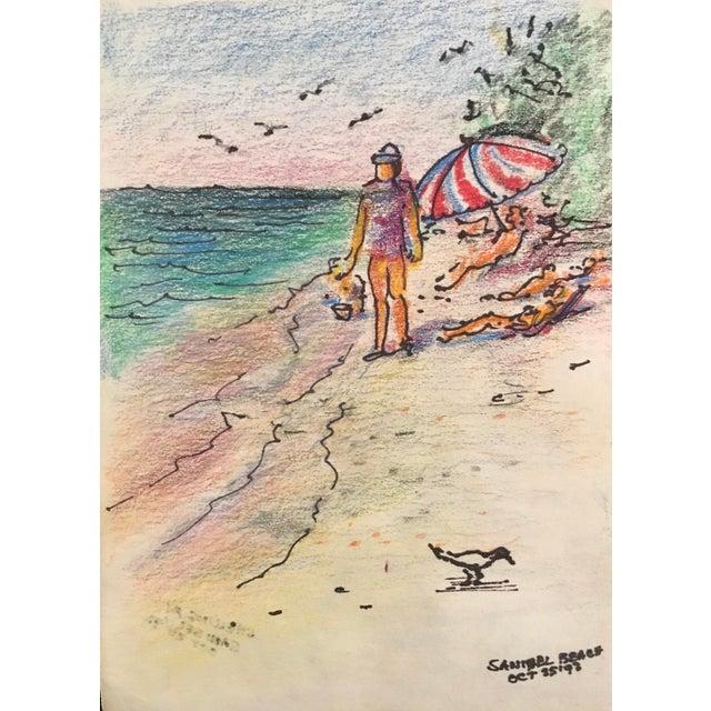 Sanibel Beach Pastel Drawing, 1992 For Sale