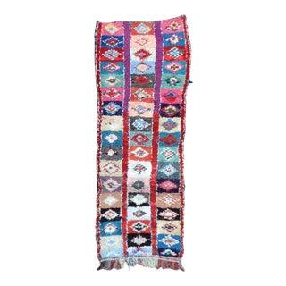 Vintage Moroccan Wool Boucherouite Rug- 2′10″ × 7′7″ For Sale