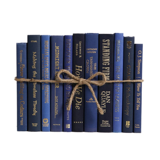 Modern Modern Denim & Gold ColorPak - Decorative Blue Books With Gold Accents For Sale - Image 3 of 3