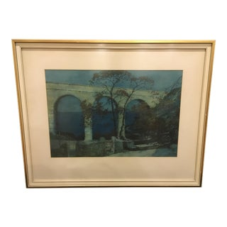 Framed Landscape Watercolor Painting by Albert Moulton Foweraker (1873-1942) For Sale