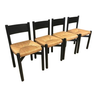 "Charlotte Perriand Set of Four Black Model ""Meribel"" Rush Chairs For Sale"