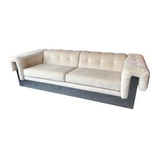 1970s Milo Baughman for Thayer Coggin Chrome + Tufted Velour Sofa For Sale