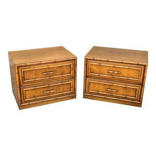 1960s Vintage Faux Bamboo Nightstands- A Pair For Sale
