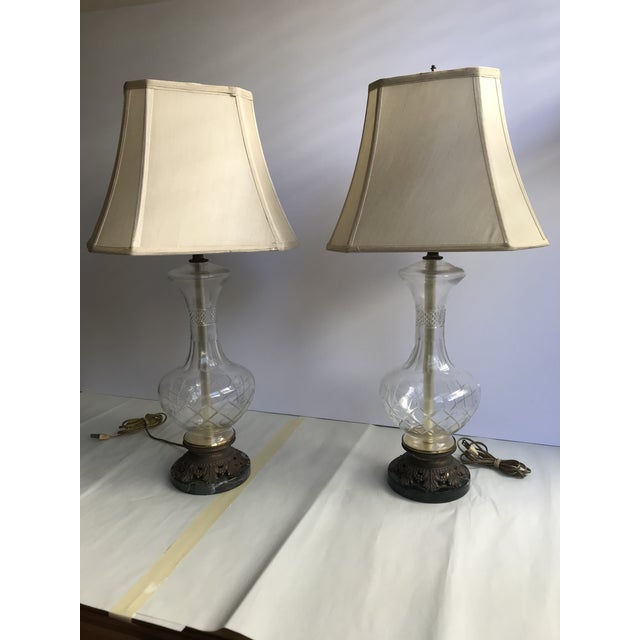1900s Victorian Glass Table Lamps with Marble and Bronze Base - a Pair For Sale - Image 9 of 11