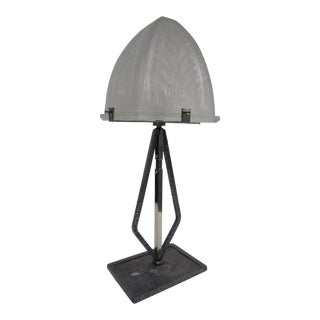 French Modernist Narrow Rectangular Table Lamp in Hammered Iron and Art Glass For Sale