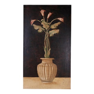 Oil Painting on Burlap of Lily Flowers For Sale