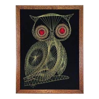 Framed Metallic Owl String Art