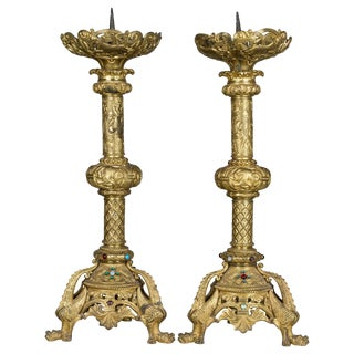 Pair of 19th Century French Bronze Doré Candlesticks For Sale