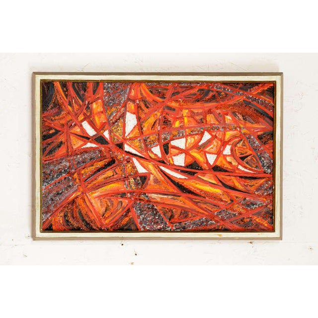 """For your consideration an abstract oil canvas mounted in original frame. Signed in the back. Jan Yilch 1966. Frame 19"""" W x..."""