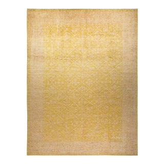 """Oushak, One-Of-A-Kind Hand-Knotted Area Rug - Yellow, 10' 5"""" X 13' 9"""" For Sale"""