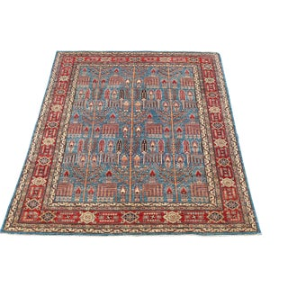 Traditional Bijar Design Blue Multi Color Hand-Knotted Wool Rug - 8′ × 9′ For Sale