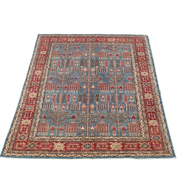 Traditional Bijar Design Blue Multi Color Hand-Knotted Wool Rug - 8′ × 9′ - Image 1 of 6