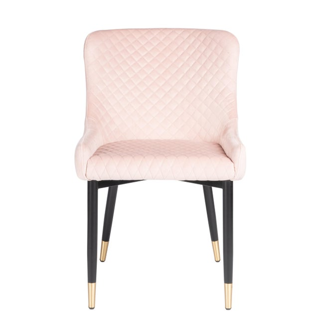 Multiples available. Merlin Chair is upholstered in a diamond tufted velvet fabric with an almost black leg that is...