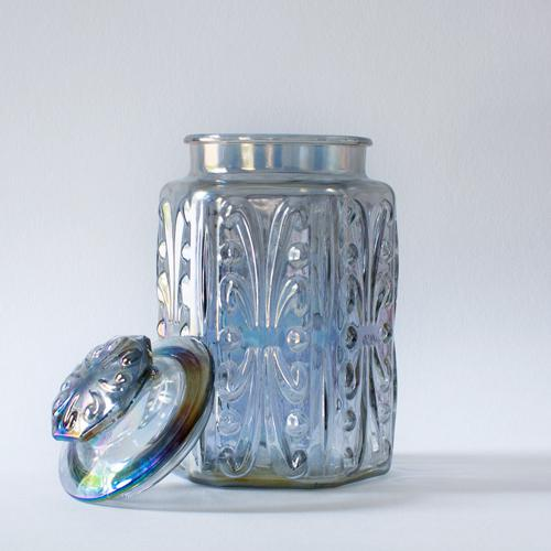 Boho Chic Iridescent Carnival Glass Canister For Sale - Image 3 of 4