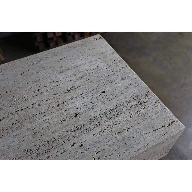 Stone Sculptural Modernist Travertine Pedestal For Sale - Image 7 of 8