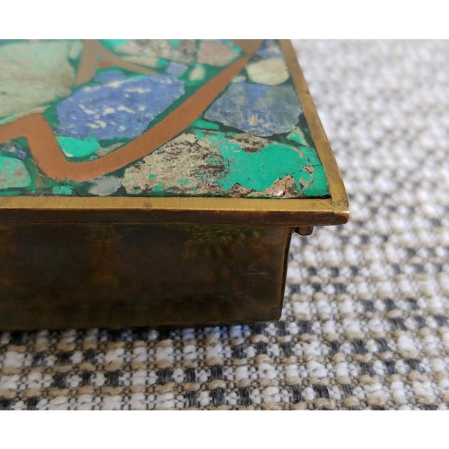Vintage Brass and Stone Inlay Box Mayan Aztec Mexico For Sale - Image 9 of 10