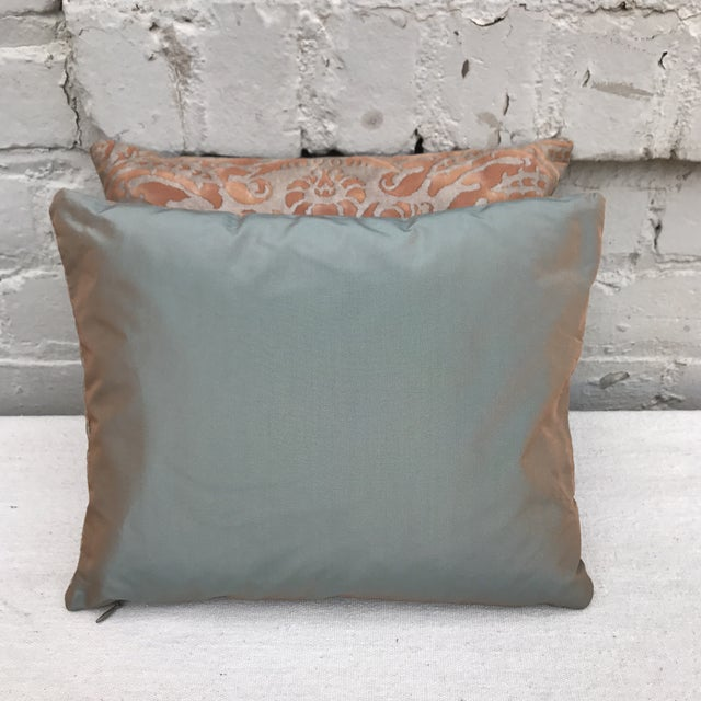 Fortuny Brown & Gold Cotton Pillows- A Pair - Image 5 of 5