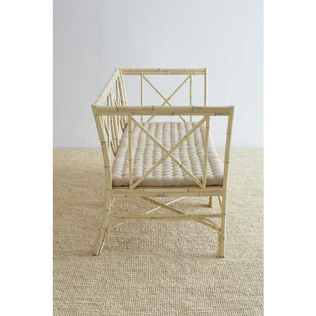 Tan Hollywood Regency Lacquered Bamboo Settee or Bench For Sale - Image 8 of 13