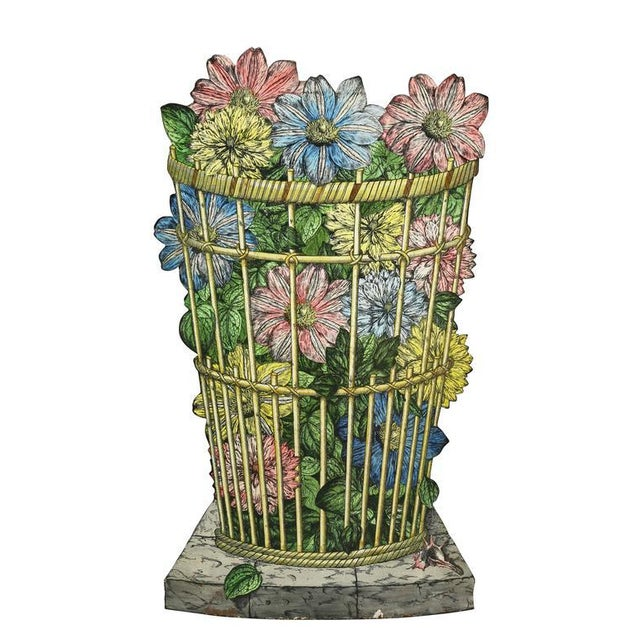 Metal Fornasetti Tole Umbrella Stand For Sale - Image 7 of 7