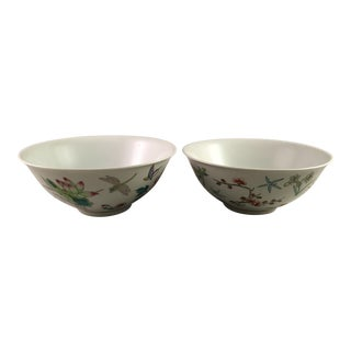 Chinese Porcelain Painted Floral Bowls - a Pair For Sale