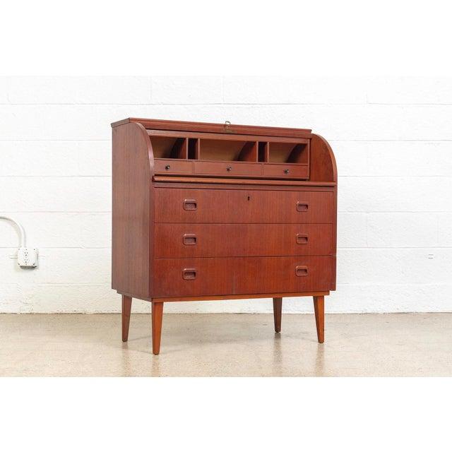 Egon Ostergaard Mid Century Swedish Egon Ostergaard Rolltop Secretary Desk For Sale - Image 4 of 11