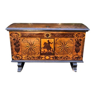 Antique Early 19th Century Italian Inlaid Hope Chest Trunk, Circa 1836 For Sale