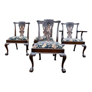 Late 18th Century Mahogany Chippendale Side Chairs- Set of 4 Schumacher Style Fabric French Tapestry Fabric Hunting Scene For Sale