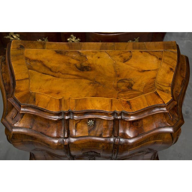19th Century Pair of Italian Rococo Style Walnut Commodes For Sale - Image 9 of 10