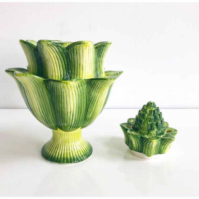 Large Multi- tone green hand painted ceramic Artichoke style design 2 piece Tulipiere vase. 24 openings for flower stems.