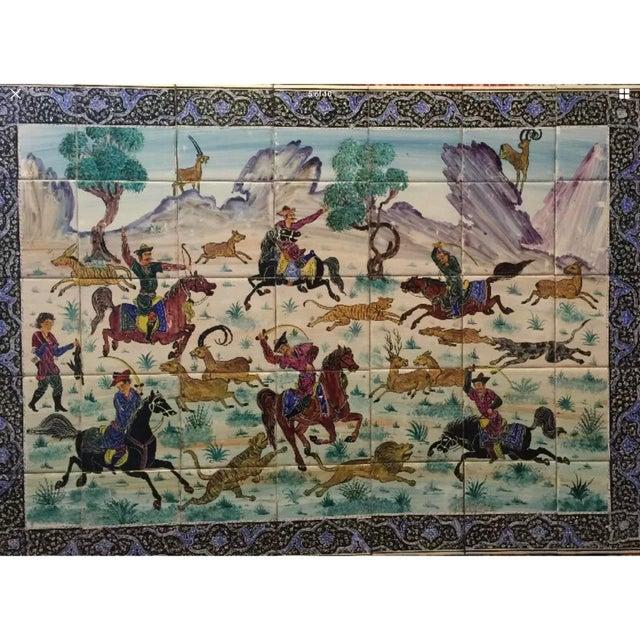 Islamic Hand Painted Persian Tile Panel Hunt Scene / Persian Miniature Art Mosaic For Sale - Image 3 of 8