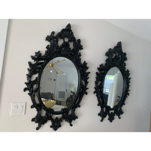 Rococo Black Lacquered Oval Mirrors - a Pair For Sale - Image 12 of 13
