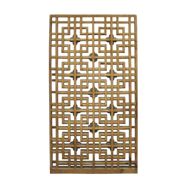 Chinese Handmade Vintage Rustic Flower Star Geometric Wood Panel For Sale In San Francisco - Image 6 of 7