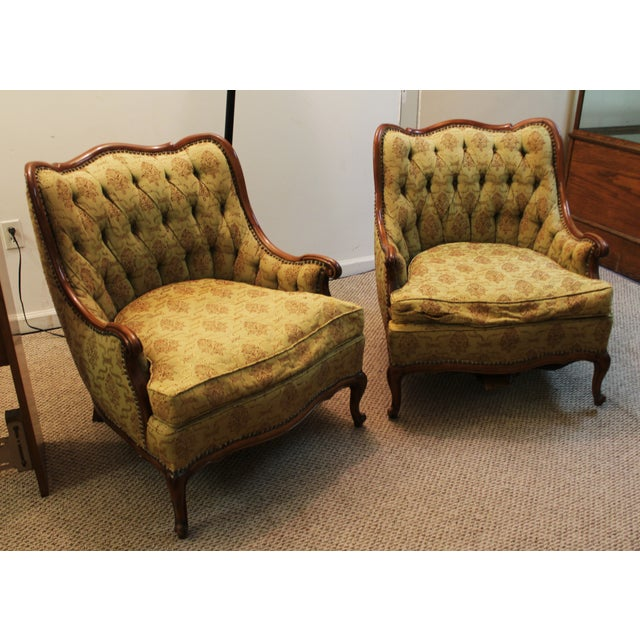 French Tufted Back Bergere Arm Chairs - Pair - Image 2 of 10